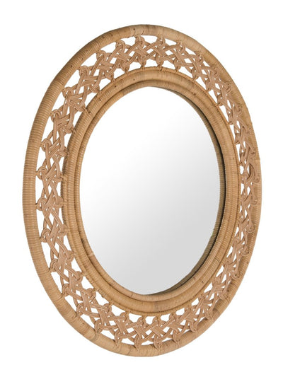 Rattan Braided Decorative Wall Mirror, Natural Color