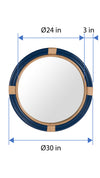 Nautical Decorative Wall Mirror in Rattan