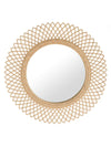 Sunburst Decorative Wall Mirror in Rattan, Natural Color