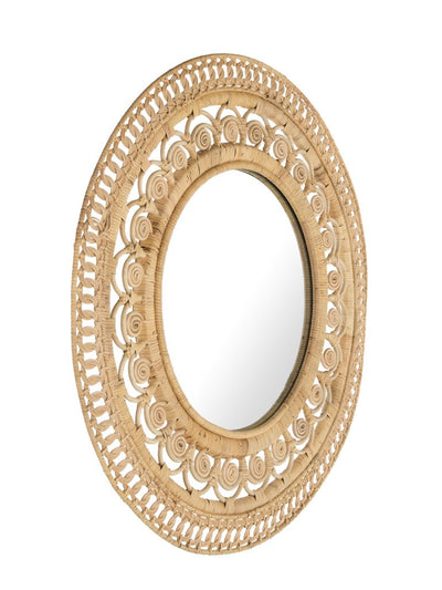 Peacock Decorative Wall Mirror in Rattan