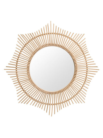 Rattan Round Halo Wall Mirror, Natural
