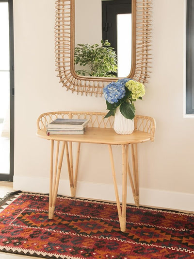 Rattan Coiled Rectangular Wall Mirror, Natural