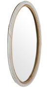 Oval Twisted Rattan Wall Mirror, White and Natural