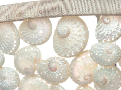 Abalone Seashell Bowl Pendant Lamp, Pearlescent White