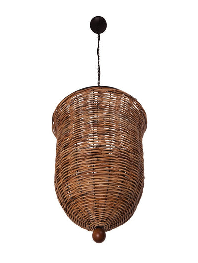 Handwoven Inverted Bell Pendant Lamp in Arurog, Natural