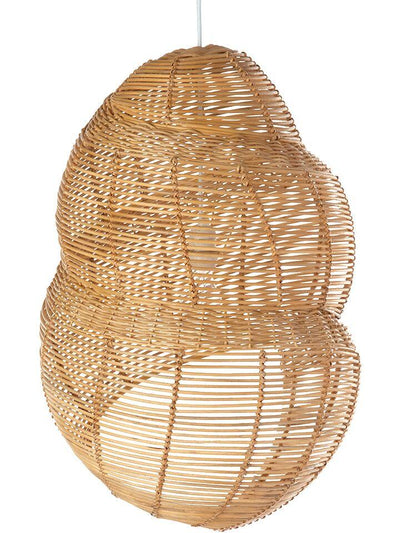 Wicker Coiled Shell Pendant Lamp, Handwoven, Diameter 17.5 x 16.5 x 27 inch, Natural Brown