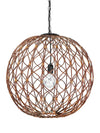 Infinity Wicker Sphere Pendant Lamp, Rustic Brown