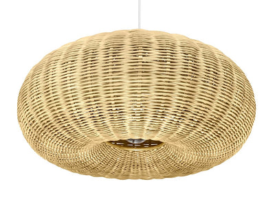 Wicker Donut Pendant Lamp, Natural Brown