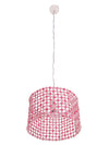 Hand Carved Wood Flower Drum Pendant Lamp, Pink
