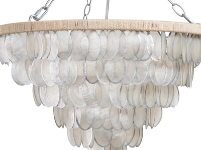 Round Chandelier with Oval Capiz Shells, Silver Painted Edge