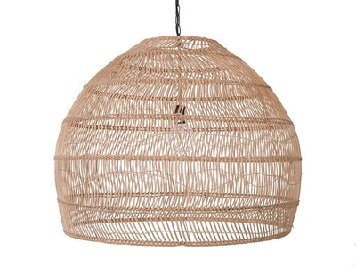 Open Weave Cane Rib Bell Pendant Lamp, Extra Large, Natural