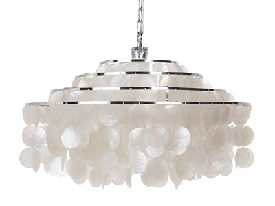 Round Layered Capiz Chandelier, Natural
