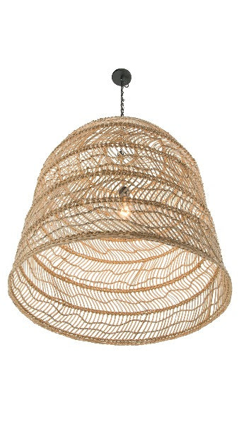 Luhu Open Weave Cane Rib Cloche Pendant Lamp, Natural