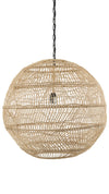 Luhu Open Weave Cane Rib Ball Pendant Lamp, Natural