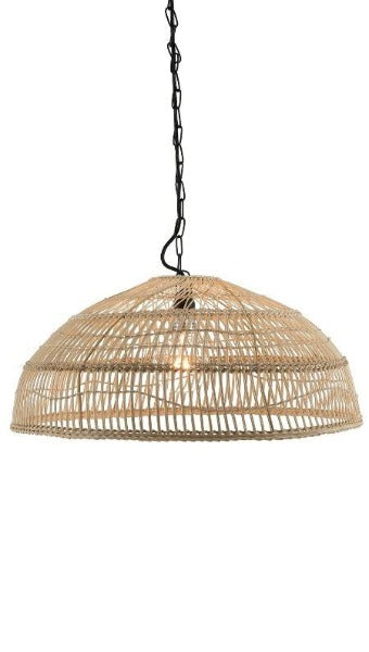 Luhu Open Weave Cane Rib Shallow Dome Pendant Lamp, Natural