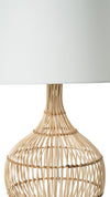 Luhu Cane Rib Bulb Table Lamp, Natural with White Shade