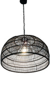 Luhu Open Weave Cane Rib Dome Pendant Lamp, Black