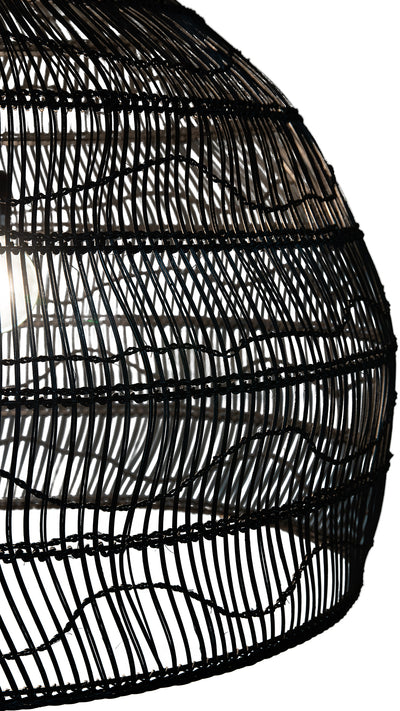 Luhu Open Weave Cane Rib Bell Pendant Lamp, Extra Large, Black