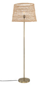 Luhu Open Weave Cane Rib Floor Lamp - Natural Shade with Brass Colored Stand
