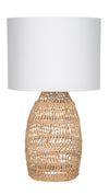 Luhu Open Weave Cane Rib Table Lamp - Natural with White Cotton Canvas Shade