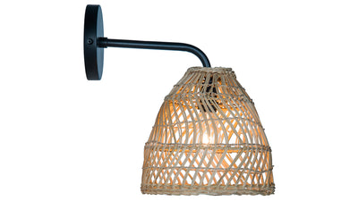 Luhu Open Weave Cane Rib Bell Sconce Wall Lamp, Natural