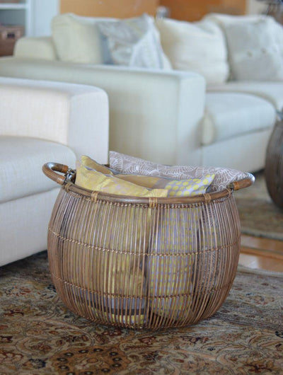 Open Weave Rattan Bulging Basket