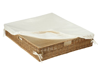 Wicker Under Bed Basket with Liner & Cover