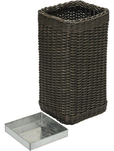 Wicker Umbrella Stand with Water Catch