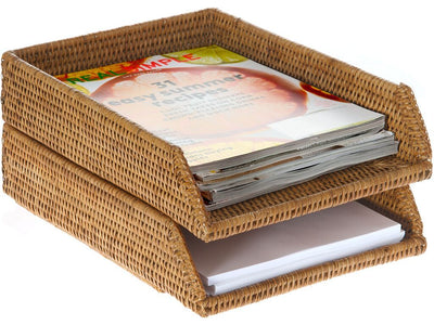 La Jolla Rattan Stackable Letter Tray