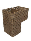 Sweater  Weave Handwoven Wicker Stair Step Basket, Rustic Brown