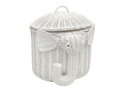 Rattan Elephant Storage Basket, White