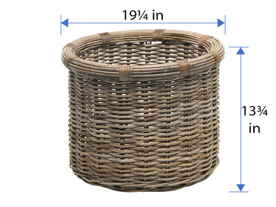 Rattan Kobo Round Log and Storage Basket, Gray-Brown