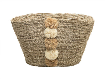 Oval Tapered Sea Grass Tote with Pompons in Natural Color