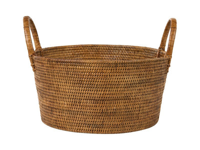 La Jolla Round Low Rattan Storage Basket, Honey Brown