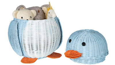 Wicker Penguin Basket, Multi-Color