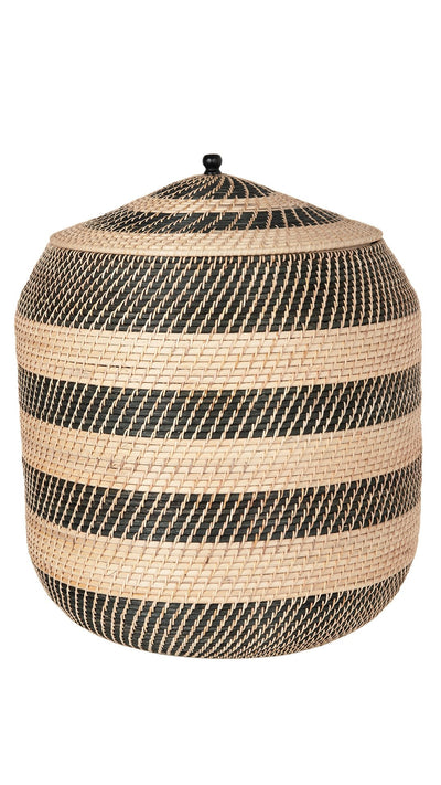 Extra-Large Rattan Belly Basket, Natural-Black