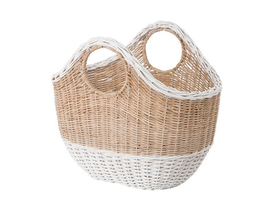 Oval Tote Decorative Wicker Storage Basket, Natural and White