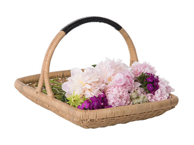 Vegetable and Flower Wicker Basket with Leather Wrapped Arch Handle, Natural Color
