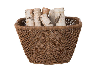 Fan Decorative Wicker Storage Basket with Rattan Pole Handle, Rustic Brown