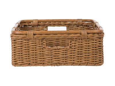 Wide Storage and Shelf Basket in Half Wicker and Rattan with Cut-Out Handles, Caramel Brown