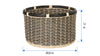 Round Rattan Storage Basket Twisty, Natural-Black