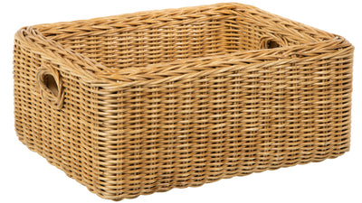 Double Wall Wicker Rectangular Storage Basket, Natural Brown