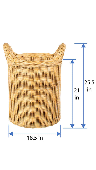 Double Wall Wicker Round Storage Basket, Natural-Brown