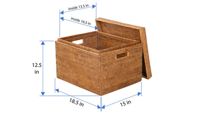 La Jolla Rectangular Rattan Storage Box, Honey-Brown