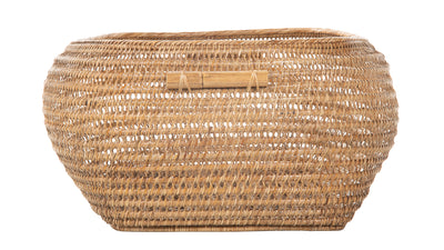 Cambria Bulging Rectangular Open Weave Storage Basket, Honey-Brown