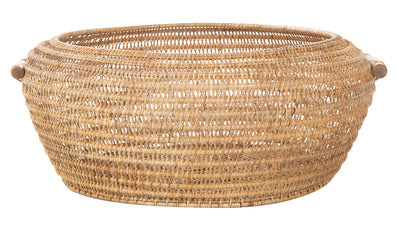 Cambria Bulging Round Open Weave Storage Basket, Honey-Brown