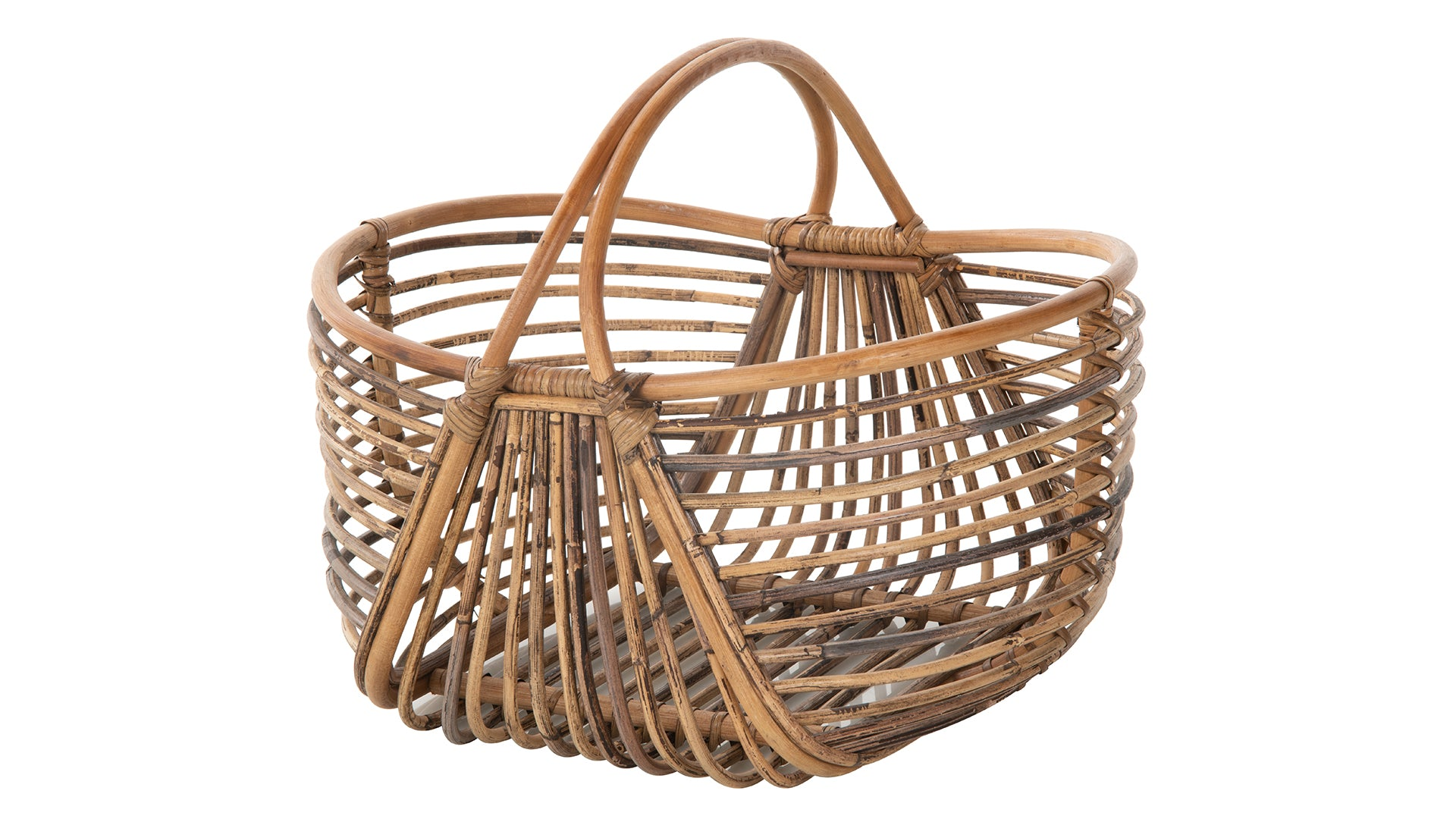 Oval Rattan Open Weave Picnic And Storage Basket Natural Brown