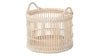 Round Rattan Open Weave Storage Basket, White Wash