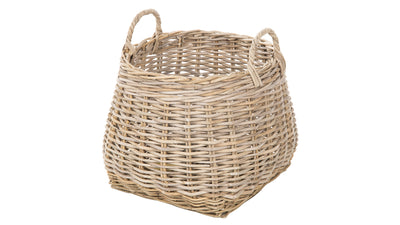 Kobo Round Rattan Belly Basket with Ear Handles, Gray-Brown