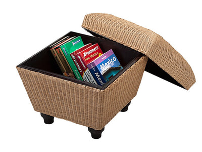 Square Chair Cane Storage Stool